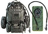 Tactical Assault Military Army Style Backpack By Monkey Paks with Hydration Water Bladder Included