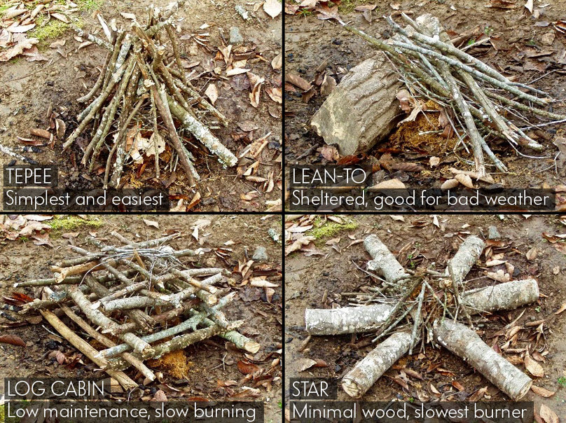 ways to stack wood for fire