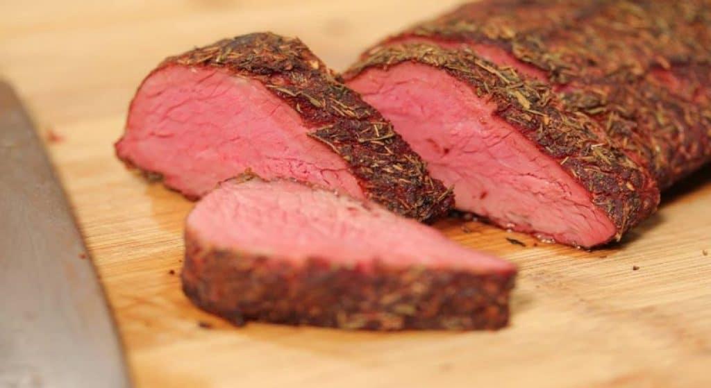 Smoked venison deer steaks